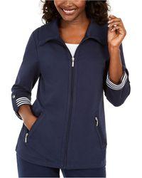 Karen Scott Petite Wing-collar Striped-cuff Jacket, Created For Macy's - Blue