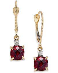 Macy's - 14k Gold Garnet (2-3/8 Ct. T.w.) And Diamond Accent Drop Earrings - Lyst