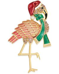 Charter Club Holiday Lane Gold-tone Pavé & Imitation Pearl Flamingo Pin, Created For Macy's - Metallic