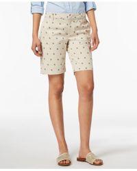 Tommy Hilfiger Printed Flat Front Bermuda Shorts - Natural