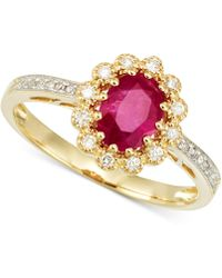 Rare Featuring Gemfields - Certified Ruby (2/3 Ct. T.w.) And Diamond (1/10 Ct. T.w.) Ring In 14k Gold - Lyst