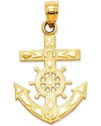 Macy's - 14k Gold Charm, Mariner's Cross Charm - Lyst