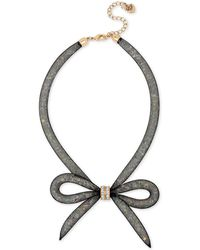 Betsey Johnson - Two-tone Mesh Crystal Bow Collar Necklace - Lyst