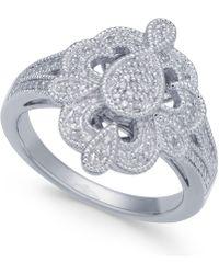 Macy's - Diamond Fancy Openwork Statement Ring (1/10 Ct. T.w.) In Sterling Silver - Lyst