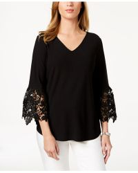d7d49d3bf37 Lyst - Charter Club Plus Size Lace Bell-sleeve Top