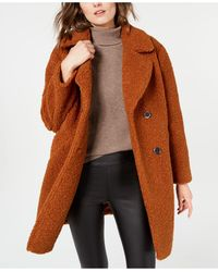 Kenneth Cole Double-breasted Faux-fur Teddy Coat - Brown