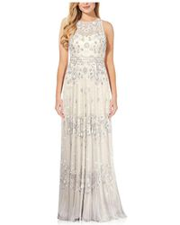 Adrianna Papell Beaded Illusion-neck Bridal Gown - White