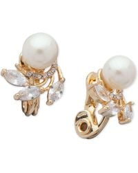 Anne Klein - Cubic Zirconia & Imitation Pearl E-z Comfort Clip-on Earrings - Lyst