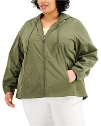 Karen Scott Plus Size Cotton Hooded Jacket, Created For Macy's - Green