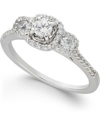 Macy's - Diamond Triple Halo Engagement Ring (1/2 Ct. T.w.) In 14k White Gold - Lyst