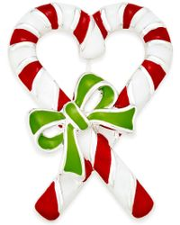 Charter Club - Silver-tone Enamel Candy Cane Brooch, Only At Macy's - Lyst