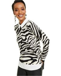 Charter Club Cashmere Zebra-print Layered-look Sweater, Created For Macy's - Multicolor