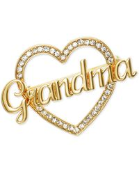 Charter Club Gold-tone Crystal Grandma Heart Pin, Created For Macy's - Metallic