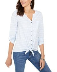 Style & Co. Printed Tie-front Top, Created For Macy's - White