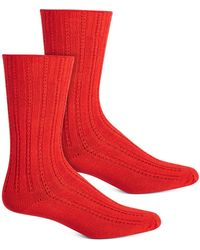 Hue Temp Tech Tuck Stitch Ribbed Socks - Red