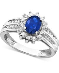 Macy's - Sapphire (1 Ct. T.w.) And Diamond (1/3 Ct. T.w.) Ring In 14k White Gold - Lyst