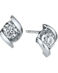 Sirena - Diamond Twist Stud Earrings (1/4 Ct. T.w.) In 14k White Gold - Lyst