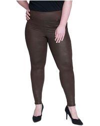 Seven7 Plus Size Tummy Toner Pull-on Coated Ponte Pants - Black