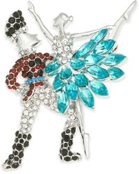 Charter Club Silver-tone Crystal Ballet Pin, Created For Macy's - Multicolour