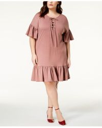 Soprano - Trendy Plus Size Lace-up Shift Dress - Lyst