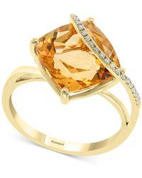 Effy Collection Effy® Citrine (6-1/2 Ct. T.w.) & Diamond Accent Statement Ring In 14k Gold - Metallic