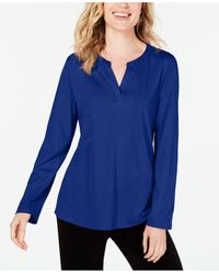 Charter Club Supima® Cotton Split-neck Top, Created For Macy's - Blue
