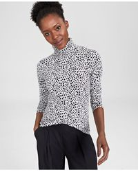 Charter Club Cashmere Printed Turtleneck Sweater, In Regular And Petites, Created For Macy's - Grey