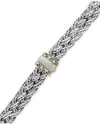 Effy Collection - Balissima By Effy® Diamond Braided Bracelet (1/10 Ct. T.w.) In Sterling Silver & 18k Gold - Lyst