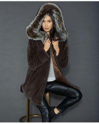 The Fur Vault Fox-fur-trim Reversible Mink Coat - Gray