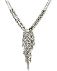 2028 - Silver-tone Multi-crystal Lariat Necklace - Lyst