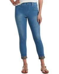 Hue Printed-cuff Ultra Soft High-waist Denim Leggings - Blue