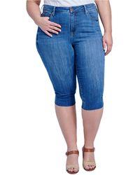 Seven7 Jeans Trendy Plus Size The Breezy Slim Crop Jeans - Blue