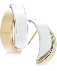 Macy's - Two-tone Overlap Drop Earrings In 14k Gold And White Gold - Lyst