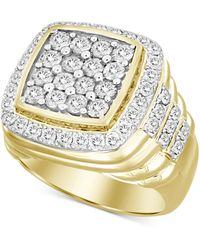 Macy's Square Cluster Ring (3 Ct. T.w.) In 10k Gold - Metallic