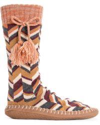 Muk Luks Slipper Socks With Tassels - Brown
