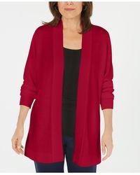 Karen Scott Open-front Long-sleeve Cardigan, Created For Macy's - Red