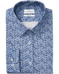 Lucky Brand Slim-fit Performance Stretch Tonal Blue Palm Print Dress Shirt
