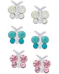 Macy's - 3-pc. Set Crystal Butterfly Stud Earrings In Sterling Silver - Lyst