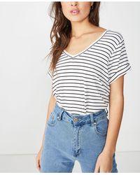 Cotton On Karly Short Sleeve V Neck Top - White