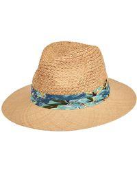 San Diego Hat Company Raffia Braid With Bao Straw Brim Fold Band Fedora - Blue