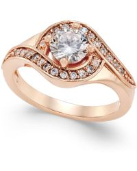 Charter Club - Rose Gold-tone Crystal Solitaire Twist Ring - Lyst