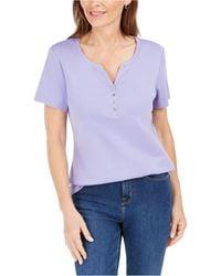 Karen Scott - Short Sleeve Henley Top, Created For Macy's - Lyst