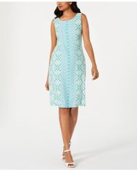 Charter Club Petite Printed Shift Dress, Created For Macy's - Blue