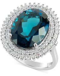 Macy's - Blue Topaz (12 Ct. T.w.) And Diamond (4/5 Ct. T.w.) Ring In 14k White Gold - Lyst