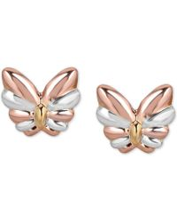 Macy's - Tricolor Butterfly Stud Earrings In 10k Gold, White Gold & Rose Gold - Lyst