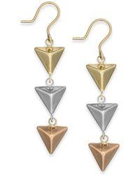 Macy's - Tri-tone Pyramid Triple Drop Earrings In 14k Gold - Lyst