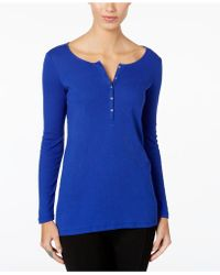 G.H.BASS - Ribbed Henley Top - Lyst
