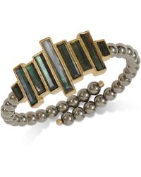 Lucky Brand - Gold-tone Black Mother-of-pearl Stone Imitation Pearl Cuff Bracelet - Lyst