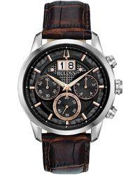 Bulova - Chronograph Sutton Brown Leather Strap Watch 44mm - Lyst