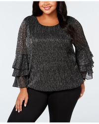 Alfani - Plus Size Metallic Tiered-sleeve Bubble Top, Created For Macy's - Lyst